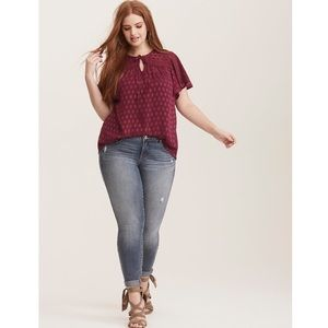 Torrid Berry Dot Stitch Sheer Flutter Sleeve Top
